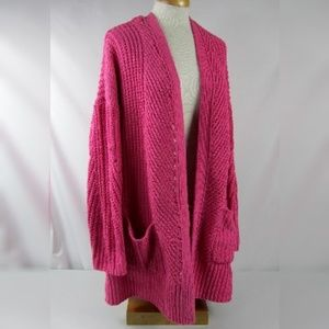 Style & Co. Chenille Open-Front Cardigan Pink 3X